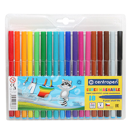 Фломастеры Centropen SuperWashable 18 цв. 2.0 (супер смыв.) бл./пл. 7770/18 ТР