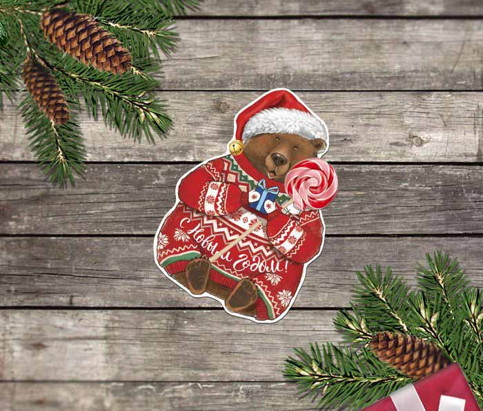 Мишка на новогодней открытке